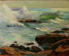 """""""Bass Rocks Surf,"""" Marian Williams Steele, oil on canvas, 20 x 24"""", private collection."""
