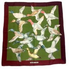 Vintage HERMES Carre silk scarf wine red, olive green, and wild ducks print.