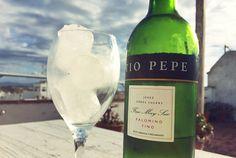Tio Pepe, Palomino Fino.  Very very dry. Serve chilled and with Seafood Tapas. Gambas, Octopus, Navajas
