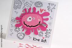 Under A Cherry Tree: Love Sick {Valentine's Day card} Love Sick, Cherry Tree, Layouts, Valentines Day, Scrapbooking, Lettering, Cards, Cherry Plant, Valentine's Day Diy