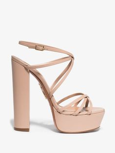 Aquazzura Gin Crossover-strap Leather Platform Sandals In Neutrals Leather Cover, Pink Leather, Brown Fashion, Aquazzura, Pastel Pink, Luxury Branding, Gin, Leather Sandals, Neutral