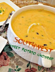 Southwest Sweet Potato Chowder with blackbeans and roasted corn. Lovely southwest flavor.
