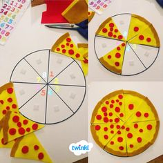 A set of colourful display posters, showing basic fractions on a lovely pizza. Great for use as display posters or flashcards. Fraction Activities, Math Resources, Activities For Kids, Ks1 Maths, Numeracy, Pizza Fractions, Pizza Project, Math Poster, Home Learning
