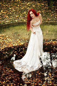 "This came up in the search for ""gothic wedding dress"" ... It looks like she's in pain, wrapped in a pretty white bed sheet, standing in a puddle of water ... Why yes that's how I envision myself in my wedding dress lol"