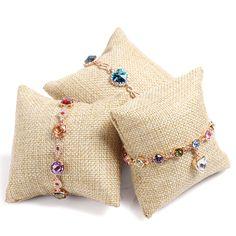 5Pcs Velvet Pillow Cushion Linen Showcase Watch Jewelry Bracelet Display Holder