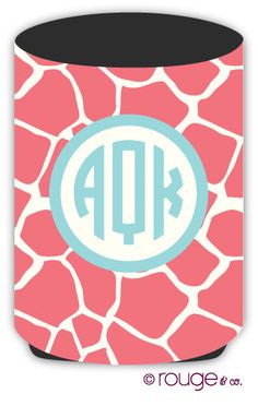 drink koozie GIRAFFE pattern with custom monogram by rougeandco