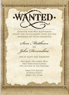 Old West Wedding Invitation – This beautifully crafted western-styled wedding invitation is perfect for any wedding that requires a cowboy