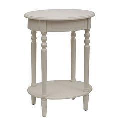 Antique White Simplicity Oval Side Table   Kirklands