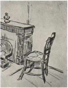 Chair near the Stove Vincent van Gogh Drawing, Pencil, black chalk Saint-Rémy: March - April, 1890