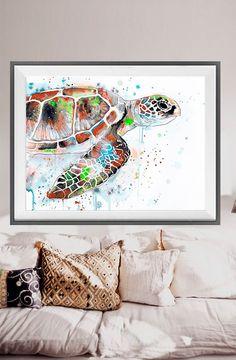 Green Sea Turtle Aquarell drucken, Meeresschildkröte Kunst, tierischen Aquarell…