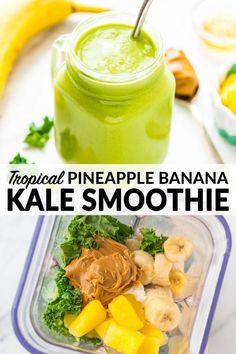 Tropical Pineapple Banana Kale Smoothie the BEST most delicious green smoothie Be sure to use fair trade banana and pineapple greensmoothie healthysmoothies healthybreakfast wellplated via wellplated # Banana Kale Smoothie, Kale Smoothie Recipes, Smoothie Vert, Tropikale Smoothie Recipe, Kale Smoothies, Pineapple Banana Smoothie, Cleansing Smoothies, Lunch Smoothie, Best Green Smoothie