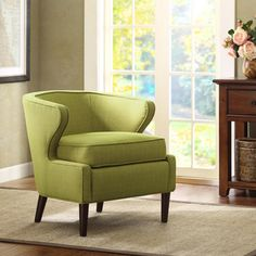 Lucca Light Green Extended Arm Chair