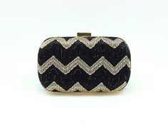 SALE / Black & Gold Chevron Clutch / Party Box by DavieAndChiyo607