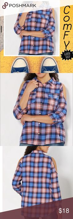 Plus Size Plaid Cold Shoulder Flannel Top Mix up your usual and slide into this flannel top. Designed with woven cotton, featuring blue plaid prints and flirty cold shoulder cut-outs. Finish this laid back look with your favorite pair of jeans. 2 front pockets, 100% cotton. Machine wash Tops Button Down Shirts