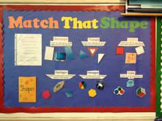 Second grade interactive bulletin board for shapes! The students pick out a shape from the shape envelope and Velcro it underneath the correct definition.
