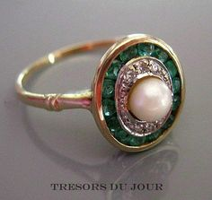 Edwardian Engagement Ring EMERALD and PEARL Halo Ring in platinum and 18kt gold; Bespoke by TresorsDuJour