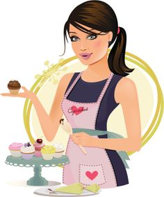 This girl's speciality is creating delicious cupcakes. Logo Anime, Chef Images, Chef Logo, Cake Logo Design, Makeup Artist Logo, Cupcake Images, Bakery Logo, Decoupage Vintage, Cute Cartoon Wallpapers