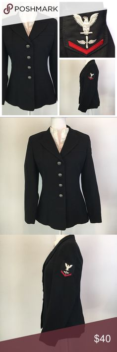 US Navy black military dress blues jacket 12MR sz4 US Navy uniform dress blues black woman's military jacket. Fully lined. Four buttons. Patch on upper left arm: white eagle with one red chevron. EUC. No stains, rips, or pills. Size 12MR (misses regular), roughly equivalent to a size 4 (which is what I wear and this fits me). Bundle with another item and save 15%! I love offers! Jackets & Coats