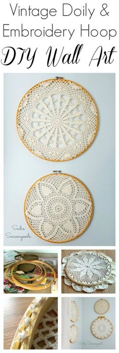 Create simple, cottage style wall decor by repurposing vintage crocheted doilies in embroidery hoops from the thrift store. Super simple, and an inexpensive, thrifty way to fill your walls! You may even find everything you need at Grandma's house! Easy DIY upcycle craft project from #SadieSeasongoods / http://www.sadieseasongoods.com