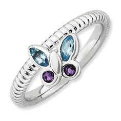 Stackable Expressions Sterling Silver Amethyst & Blue Topaz Ring. Sale Price Only $45.  Sizes 5-6-7-8-9-10.
