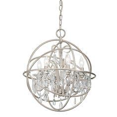 2 Kitchen Pendants Kichler Lighting 19.02-in 6-Light Brushed Nickel Crystal Crystal Globe Chandelier