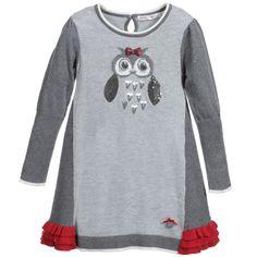 Deux Par Deux Grey Knitted Dress with Sequin Owl at Childrensalon.com