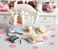 Miniature Confetti Birthday Cake Set by CuteinMiniature on Etsy