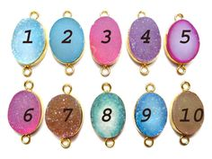 24 kt Gold Plated Druzy Connectors   Mix colour by finegemstone, $12.00