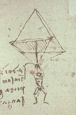The Parachute (Inventions by Leonardo da Vinci) - Leonardo da Vinci  c.1485.1488.   The parachute Though credit for the invention of the first practical parachute usually goes to Sebastien Lenormand in 1783, Leonardo da Vinci actually conceived the parachute idea a few hundred years earlier.