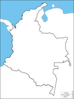 Colombia : Mapa gratuito, mapa mudo gratuito, mapa en blanco gratuito, plantilla de mapa : costas, límites