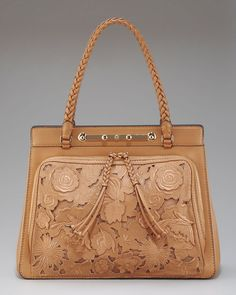 Valentino Demetra Leatherlace Bag in Brown (cognac taupe)