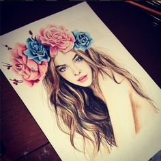 love the idea of drawing flowers in hair