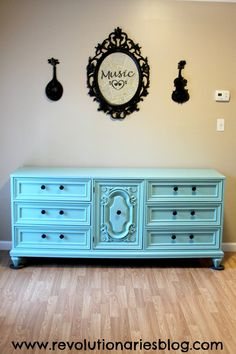 Before & After: The Aqua Mint Dresser. You have to see the before to fully appreciate this piece!