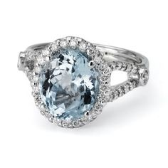 colored stones engagement rings | Atlanta Engagement Rings: 18K White Gold Aquamarine Colored Stone Ring