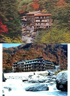 西山温泉慶雲館 Nishiyama hot spring and inn Keiun-Kan.   Keiun-Kan is an inn with the history that is the oldest in the world.   It is Fujiwara Mahito to have discovered the hot spring of this inn. It was March, 705.   Emperor Kouken of the 46th generation took a bath in this hot spring for 758 years.   The upper photograph is Keiun-Kan of the Meiji era.