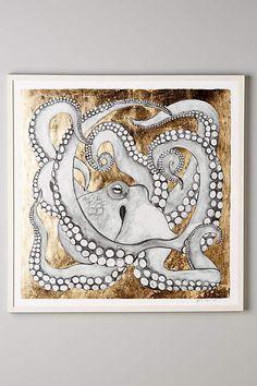 Sea Dweller Wall Art - anthropologie.eu Illustrations, Illustration Art, Octopus Art, Hanging Wall Art, Coastal Decor, Oeuvre D'art, Artsy Fartsy, Decoration, Les Oeuvres