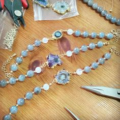 New amethyst stalactite bracelets with labradorite and moonstone beads. Be still my heart. #handmadejewellery #handcrafted #handmade #gemstonejewellery #semiprecious #precious #naturalstones #amethyst #amethyststalactite #labradorite #moonstone #bracelet #smallbiz #mycreativebiz #makersgonnamake #onmydesk #whereiwork #creativelifehappylife #livecolourfully #madewell #petitejoys #flashesofdelight #calledtobecreative