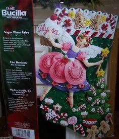 "Bucilla ""SUGAR PLUM FAIRY"" New Felt Christmas Stocking Kit Factory Direct Angel"