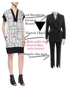 Good and Bad Style Choices! byInverted Beauty on Polyvore angelabsimmons Inverted Beauty: It can be really hard finding the right style especially when it comes to tops and bottoms. For #invertedtriangle women, Our top size is always larger than our bottom. You don't want to look like you are wearing a sheet and you don't want to look like a foot ball player... #invertedtriangle