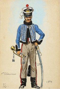 French; Imperial Guard,  1er Régiment des Éclaireurs , trumpeter 1814 by L.Rousselot