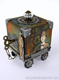 Stamptramp: Artist Trading Block - Journey. Created using @Wendy Vecchi Wendy Vecchi's Archival inks from @Ranger Industries and the @Eileen Hull 3D Box die from @Sizzix