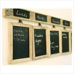 chalkboard row menu diy would be cute as a weekly calendar too for appoimtmetns etc. Hanging Chalkboard, Chalkboard Paint, Chalk Menu, Blackboard Menu, Homemade Calendar, Kitsch, Chalk It Up, Blackboards, Getting Organized