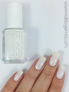 essie Tuck In My Tux is a sheer ivory white jelly/crelly that is even in 2 coats and almost opaque in 3