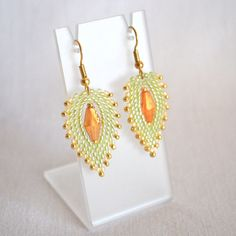 Green and Gold Peyote Stitch Earrings