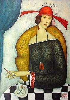 Russian/French Abstract Realist painter Volodia Popov 1961