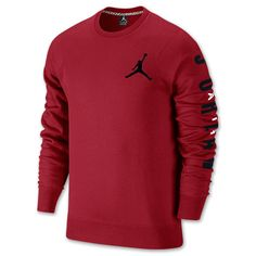 Men's Jordan Flight Classic Fleece Crew Sweatshirt| Finish Line | Gym Red/Black