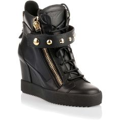 Giuseppe Zanotti Black leather gold studded wedge sneaker ($995) ❤ liked on Polyvore featuring shoes, sneakers, velcro sneakers, black wedge sneakers, wedges shoes, wedge heel sneakers and black shoes