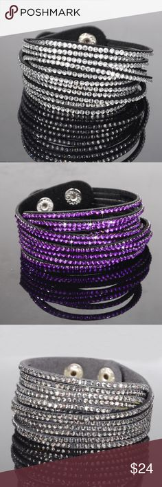 Crystal Rhinestone Bracelet Material: Faux Leather + rhinestone Length: approx. 40cm Width: approx. 1.8cm The length can be adjustable by 2 push buttons Available in 3 colors, choose from images posted Jewelry Bracelets