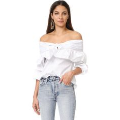 STYLEKEEPERS Serenade Off Shoulder Top ($110) ❤ liked on Polyvore featuring tops, blouses, white, white cotton blouse, white off the shoulder shirt, white long sleeve blouse, white off the shoulder top and white shirts