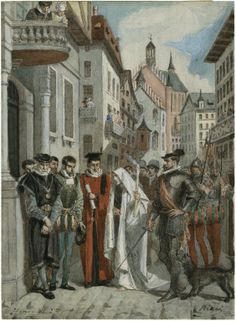 Alexandre Bida. Watercolor. Depicts Henry VI, Part 2, Act 2, Scene 4. After the Duchess's banishment, she wears a sheet and carries a taper in the streets of London. Folger Shakespeare Library.